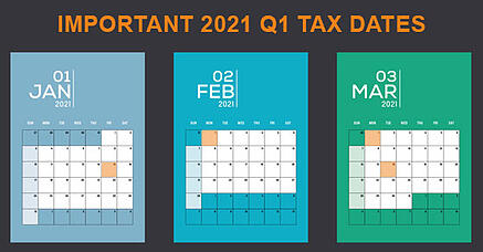 2021 Q1 tax calendar- Key deadlines for businesses and other employers